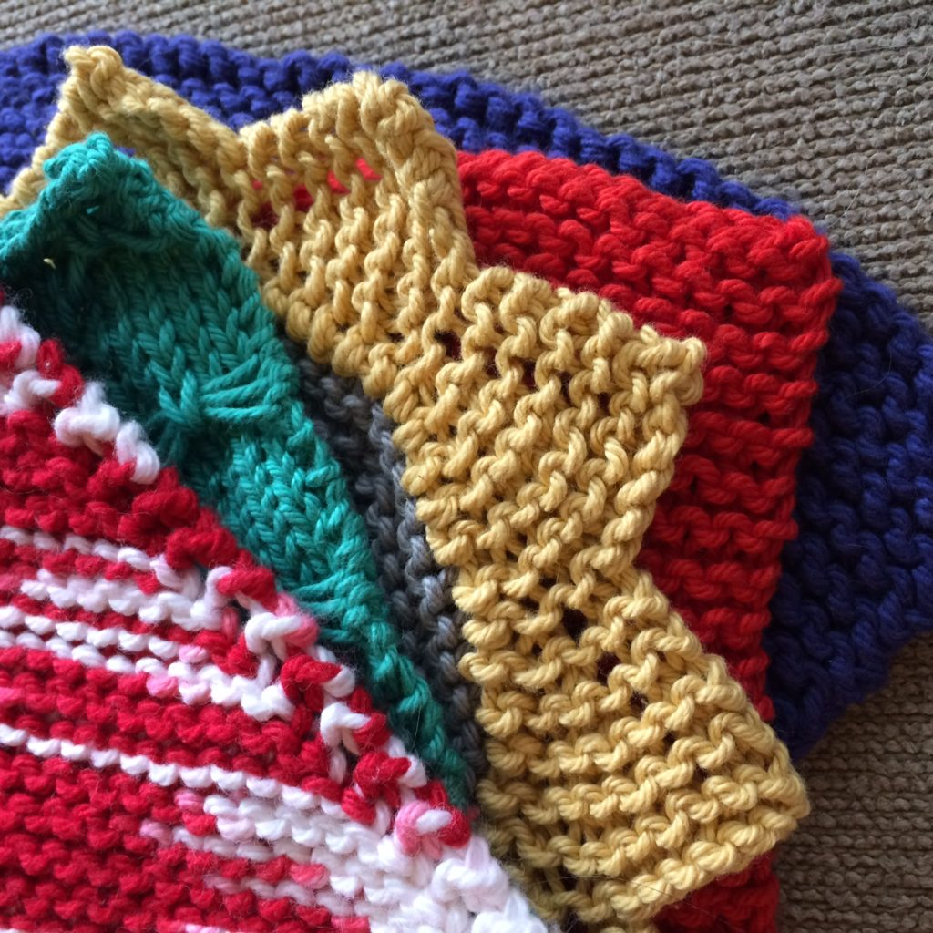 Five knit dishcloths
